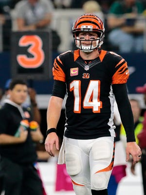 Bengals quarterback Andy Dalton takes the field in the third quarter of Sunday's loss to the Cowboys.