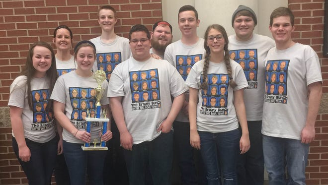 Cotter Senior High Quiz Bowl team earned the first place trophy at 2A Regional competition at ASU Newport recently. The team went undefeated on the day with a 5-0 record. Emily Krause was named to the All-Tournament team. Cotter will be advancing to the state competition in April. Cotter Quiz Bowl team members are Samantha Hodges, front row from left, Team Captain-Emily Krause, Gabe Gilley, Abigail Vance and Grant Dodson. Back, Coach-Monica Springfield, Trenton Tardiff, Caleb Howse, Dalton Orsborn and Austin McBee.