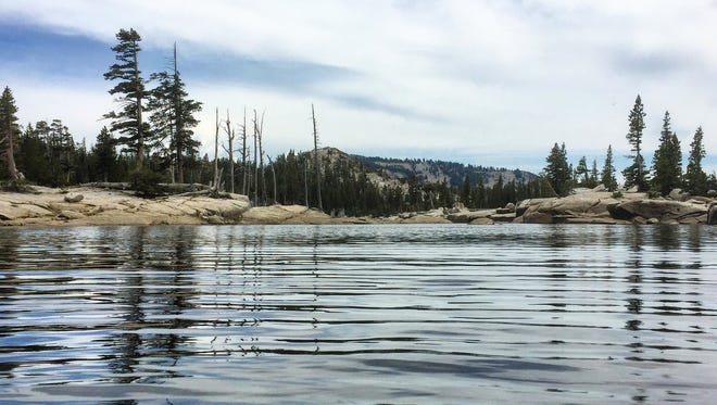 Benjamin Spillman/RGJ The surface of Lake Aloha in the Desolation Wilderness on July 1, 2015. Scientists are studying how climate change affects lakes in the Sierra Nevada.
