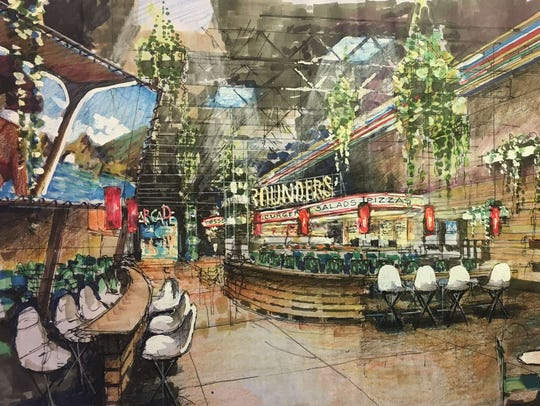 Rendering of Rounders, a more family-oriented restaurant