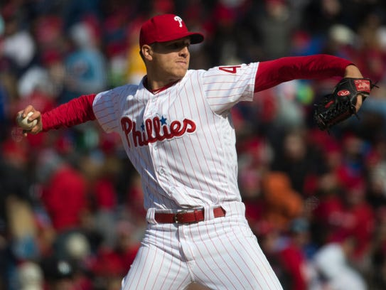 Phillies pitcher Nick Pivetta (43) pitches in the first inning during the game against the Miami Marlins on Thursday at Citizens Bank Park.