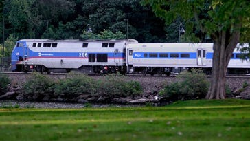 A Metro-North commuter train approaches the Beacon train station.