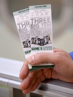 Tickets for the Michigan State vs. Michigan football game pictured on Wednesday, Oct. 26, 2016.