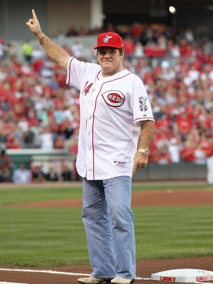 FILE -- Pete Rose takes part in the ceremony celebrating the 25th anniversary of his breaking the career hit record of 4,192 on September 11, 2010 at Great American Ball Park in Cincinnati, Ohio.