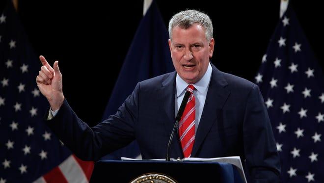 New York Mayor Bill Bill de Blasio.
