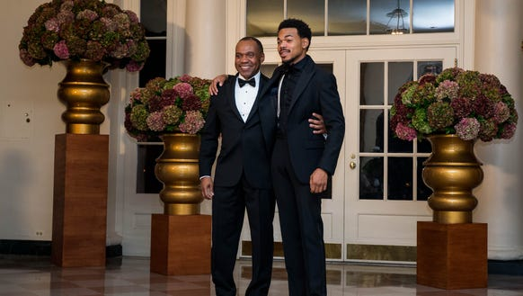 Chance the Rapper and his dad, Kenneth Bennett, pre