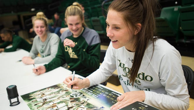 CSU women's basketball forward Elin Gustavsson signs autographs with her teammates April 5 during Ram Jam at Moby Arena. The women's basketball team is one of 10 CSU sports programs that received a perfect Academic Progress Rate score for the 2015-16 school year and had the second-best four-year score in the Mountain West.
