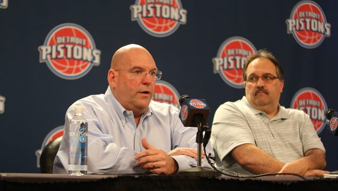 Detroit Pistons president/coach Stan Van Gundy, right, and general manager Jeff Bower talked with reporters April 16, 2015, at the Palace of Auburn Hills.