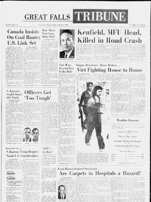 Front page of the Great Falls Tribune from Sunday, Feb. 11, 1968.