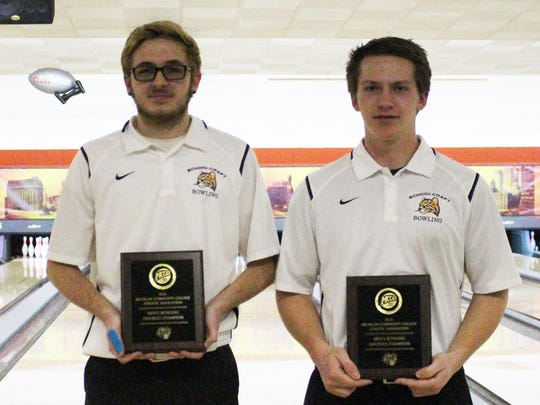 Schoolcraft College's Kacey Brezovsky (left) and Andrew Gury won the doubles championship at Friday's NJCAA/Region XII men's bowling championship held at Merri-Bowl Lanes in Livonia.