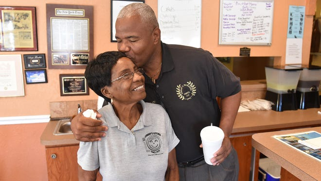 "Hassie Russ, co-owner of Granny's Kitchen in Fort Pierce, gets a hug from customer Solomon Lee on Friday, Feb. 2, 2018, on the final day of business for the restaurant in Fort Pierce. Hassie and her husband Charlie Russ are closing their restaurant to retire after being in business for 43 years in the same location on Avenue D. ""I'm sad, after being here that long, I'm sad,"" Russ said. ""It's just time to go. My kids keep saying momma go home while you are healthy, why you can do something else, while you can enjoy some of the things you want to do."" To see more photos, go to TCPalm.com."