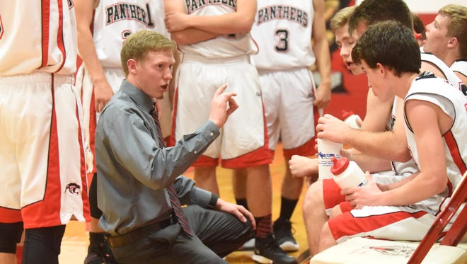 Norfork coach Will Stewart gives his team instructions in their victory over Bruno-Pyatt on Wednesday night.