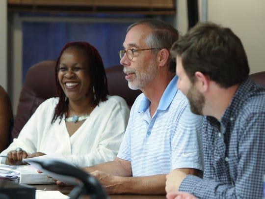 Nyack Mayor Don Hammond, center, with board members