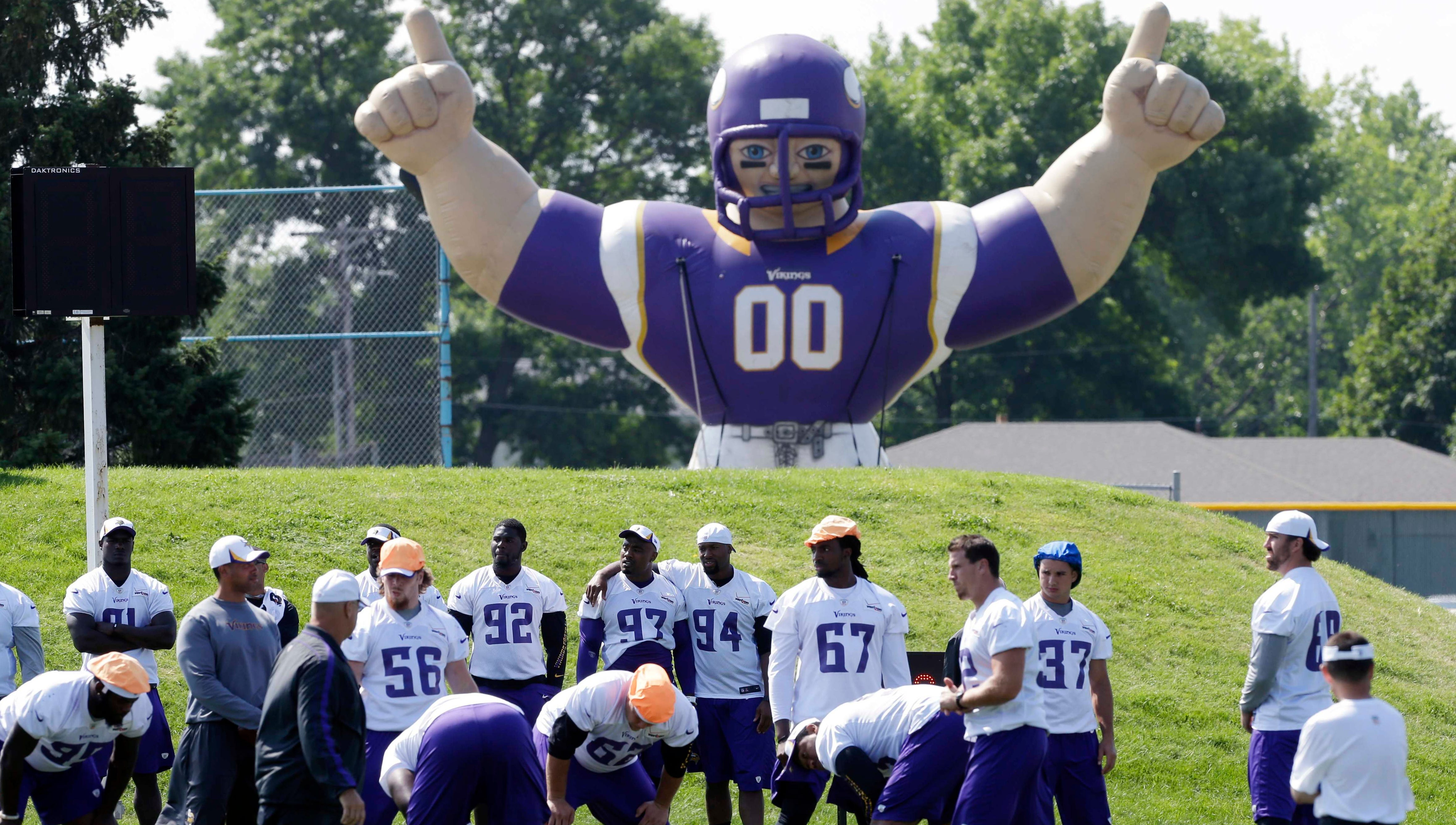 The Vikings practice beneath some watchful eyes in Mankato, Minn., on Aug. 7.