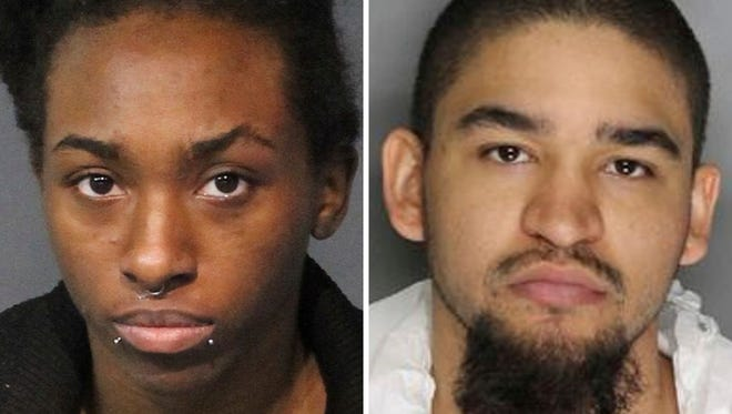 May 16, 2018, booking photos provided by the Washoe County Sheriff, left, and the Sacramento Police Department, right, show Averyauna Anderson, left, and Tyler Anderson, both of Reno.