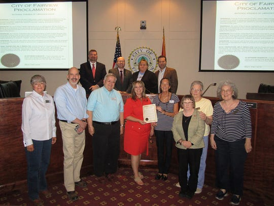 Fairview city leaders present the Friends of the Fairview