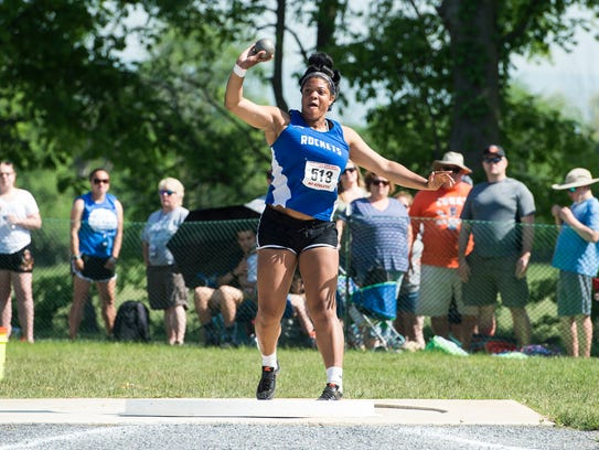 Spring Grove's Airika McCaskill competes in the 3A