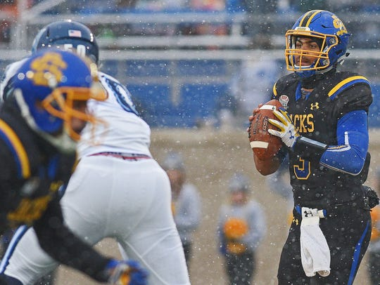 SDSU quarterback Taryn Christion (3) looks for an open