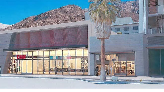 An architect's sketch of the retail building proposed for Palm Canyon Drive in the downtown redevelopment area.