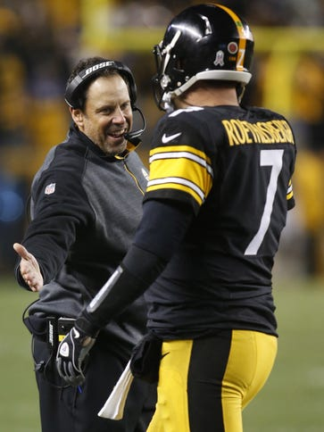Steelers offensive coordinator Toddy Haley and QB Ben