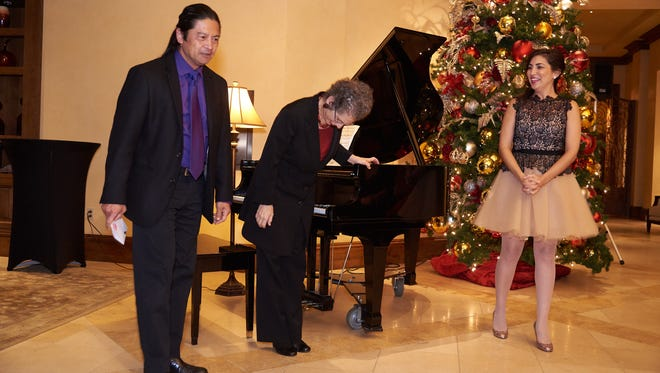 left to right, Roberto Perlas Gomez, Victoria Kirsch, pianist, and Karin Mushegain