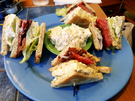 Flamingo Diner's triple decker egg salad and bacon