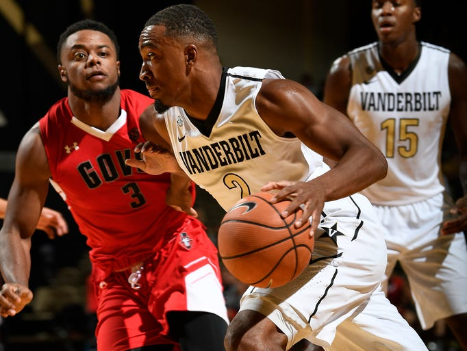 Vanderbilt guard Joe Toye (2) drives past Austin Peay