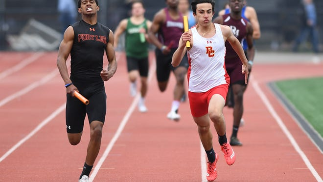 Fort Lee and Michael Huertas, left, wins their  first boys sectional track title in North 2, Group 2 on Saturday, May 27, 2017. Huertas is pictured here in a file photo from the Bergen County Relays.