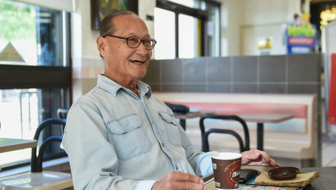 Retired Government of Guam employee George F. Taitano smiles during a conversation at McDonald's in Hagatna on April 9.