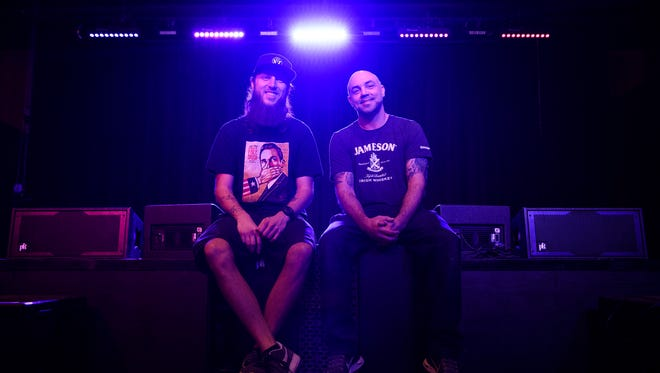 Andrew Peek and Chad Hendricks, co-owners of The Firmament, pose for a portrait at the stage of their music venue on Thursday, Feb. 22, 2018. The Firmament will have its grand opening this weekend.