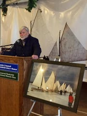 In this file photo from December 2014, David Roosevelt, grandson of President Franklin D. Roosevelt, jokes that he is not brave enough to try one of his grandfather's favorite sports, ice yachting, at the exhibition on display at Franklin D. Roosevelt Presidential Library and Museum in Hyde Park.