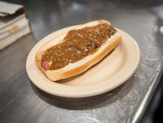 A coney dog sits on the counter at Mama Vicki's Coney