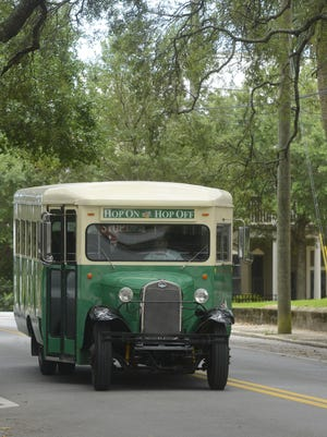 Go Retro driver Jamie Gokey comes back from a Hop On Hop Off tour of Pensacola history. The 14-stop tour is a 45- minute loop stopping at Pensacola landmarks and peppered with discounts offered by local businesses to passengers.