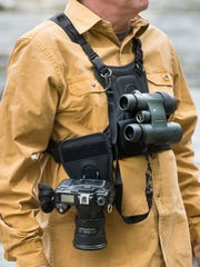 Cotton Carrier binocular and camera harness.