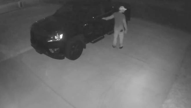 The Escambia County Sheriff's Office is looking for a suspect caught on camera looking for unlocked vehicles in the Keylan Cove area off Nine Mile Road on March 19.