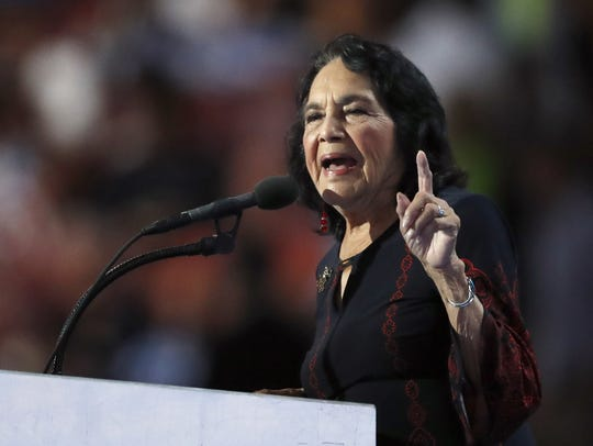 Civil rights leader Dolores Huerta speaks during the Democratic National Convention in Philadelphia July 28, 2016