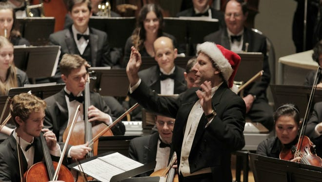 Michael Slon conducts the Charlottesville Symphony and UVa University Singers for the family holiday concerts.