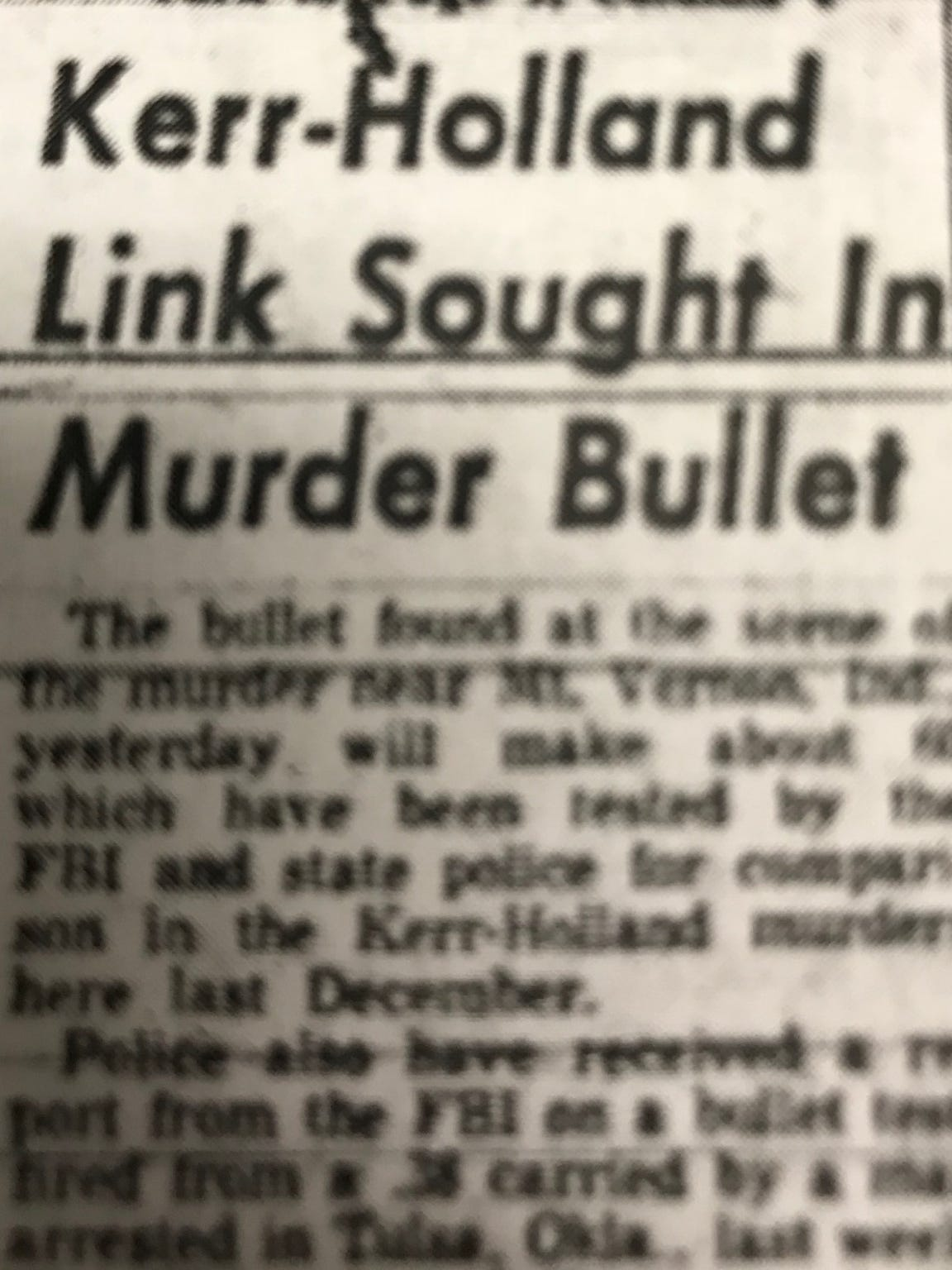 A headline in the March 22, 1955 edition of the Evansville Press. The story describes possible links between the murders of Wilhelmina Sailer, Wesley Kerr and Mary Holland.