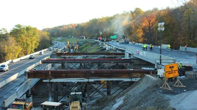 Interstate 84 replacement of the Dingle Ridge Road bridge in Southeast in October. A similar project will close I-84 in Southington, Conn.