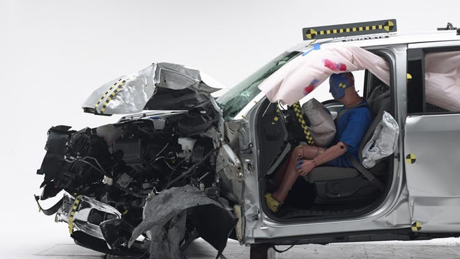 2015 Ford F-150 crew cabThis crash test duplicates what happens when the front corner of the vehicle hits a utility pole at 40 mph. In the crew cab, the dummy's position in relation to the door frame, steering wheel, and instrument panel after the crash test indicates that the driver's survival space was maintained well. But in the extended cab, the truck's structure fared poorly.