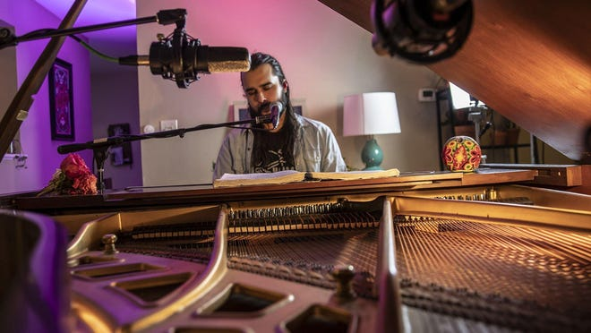 Pianist Zack Morgan performs a livestream from home as part of HAAM Day to benefit the Health Alliance for Austin Musicians on Tuesday, Sept. 15, 2020.