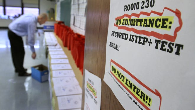 ISTEP tests are kept in a locked room at Emma Donnan Middle School.