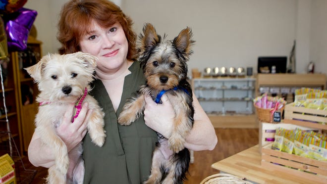Ann Meverden holds her dogs Abigail, left, and Easton, right, at her shop, The Pampered Pooch Emporium and Dog Barkery in Marshfield.