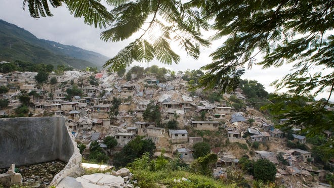 Buildings lie in ruins on a hillside on Jan. 13, 2010, in Port-au-Prince, Haiti, after a 7.0-magnitude earthquake hit the Caribbean nation.