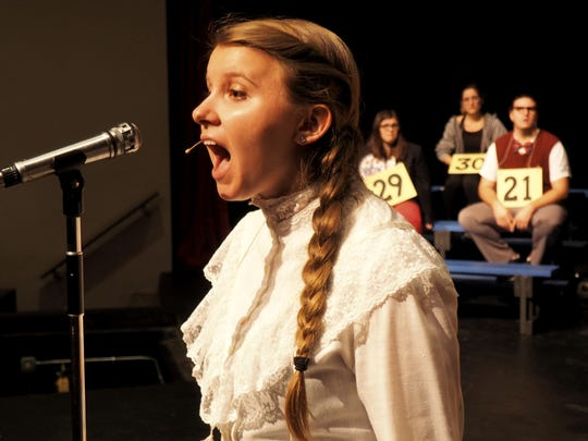 "Fond du Lac Community Theater member Anna Schuttenhelm, playing Marcy Park, reveals a little too much about herself during rehearsals for ""The 25th Annual Putnam County Spelling Bee."""