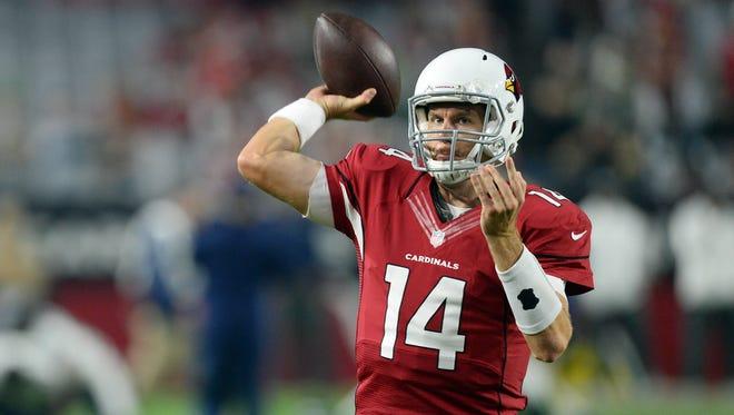 Dec 21, 2014; Glendale, AZ, USA; Arizona Cardinals quarterback Ryan Lindley (14) before facing the Seattle Seahawks at University of Phoenix Stadium.