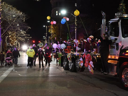 A view of the Celebration of Lights parade traveling