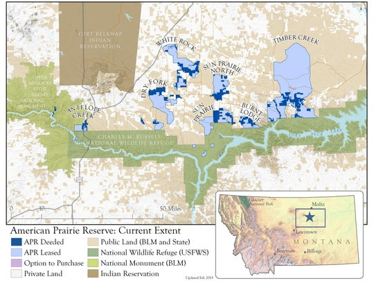 Blue on a map highlights areas of the American Prairie Reserve.