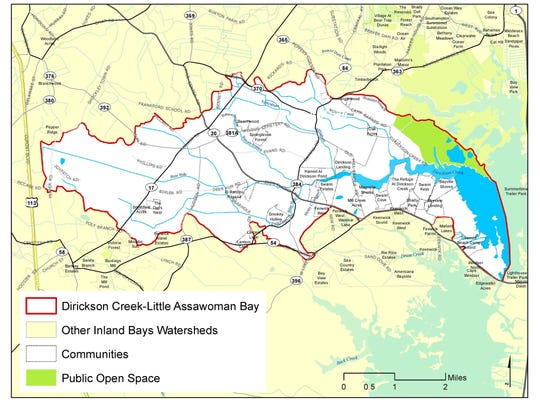 A map of the Dirickson Creek watershed.