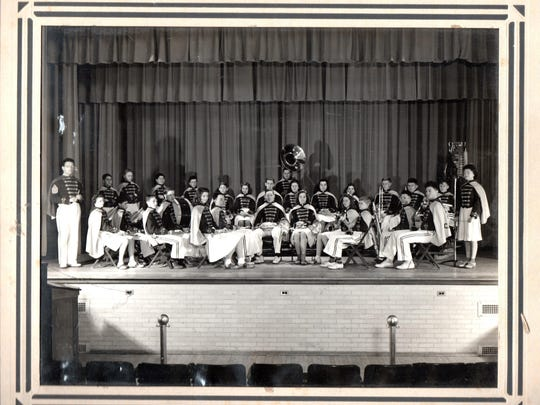 The Caesar Rodney Rider Marching Band from 1940.